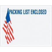"Staples Packing List Envelope, 7"" x 5 1/2"" - U.S.A. Flag Panel Face, ""Packing List Enclosed"", 1000/Case"