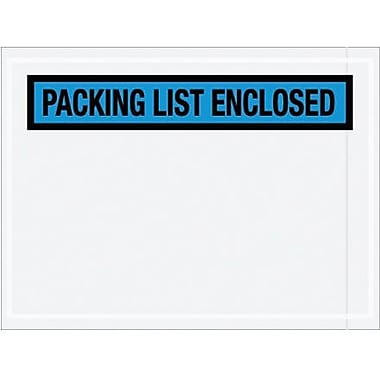 Staples Packing List Envelope, 4 1/2in. x 6in. - Blue Panel Face, in.Packing List Enclosedin., 1000/Case