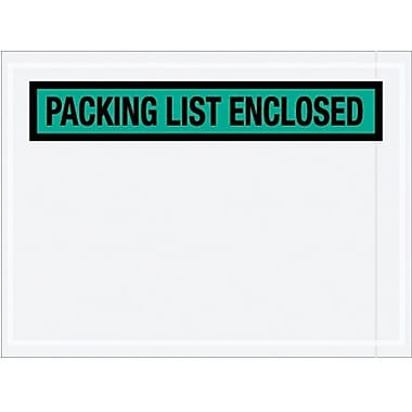 Staples Packing List Envelope, 4 1/2in. x 6in. - Green Panel Face, in.Packing List Enclosedin., 1000/Case