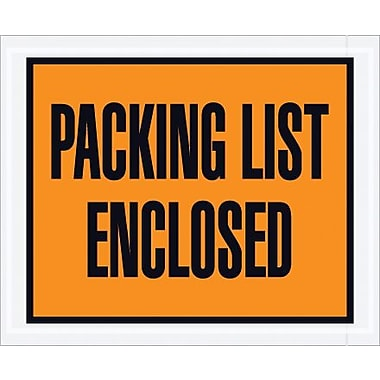 Staples Packing List Envelope, 4 1/2in. x 5 1/2in. - Orange Full Face, in.Packing List Enclosedin.
