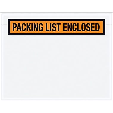 Staples Packing List Envelope, 7in. x 5 1/2in. - Orange Panel Face, in.Packing List Enclosedin., 1000/Case