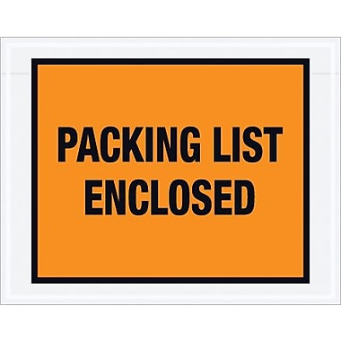 Staples Packing List Envelope, 7in. x 5 1/2in. - Orange Full Face, in.Packing List Enclosedin., 1000/Case
