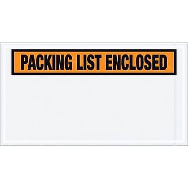 Staples Packing List Envelope, 5 1/2in. x 10in. - Orange Panel Face, in.Packing List Enclosedin., 1000/Case