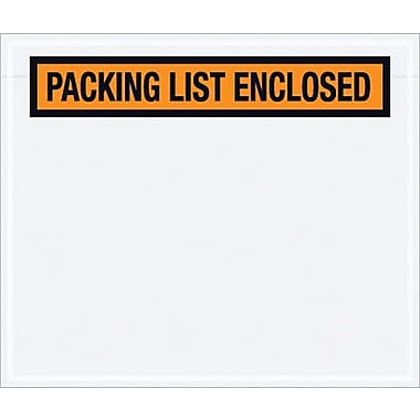 Staples Packing List Envelope, 6 1/2in. x 5in. - Orange Panel Face, in.Packing List Enclosedin., 1000/Case
