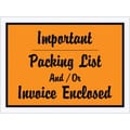 Staples Packing List Envelope, 4 1/2in. x 6in. - Orange Full Face, in.Important Packin