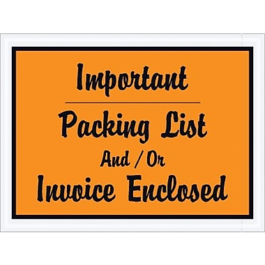 Staples Packing List Envelope, 4 1/2in. x 6in. - Orange Full Face, in.Important Packin, 1000/Case