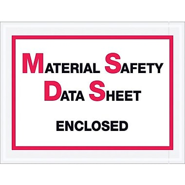 Staples Packing List Envelope, 6 1/2in. x 5in. - Full Face, in.Material Safety Data Sheet Enclosedin.