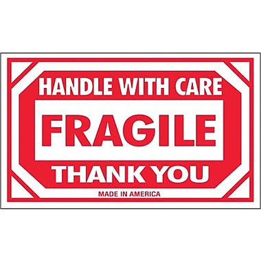 Tape Logic Fragile - Handle With Care Thank You Shipping Label, 3in. x 5in., 500/Roll