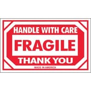"Tape Logic Fragile - Handle With Care Thank You Shipping Label, 3"" x 5"", 500/Roll"
