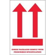 "Tape Logic® Labels, ""Inside Packages Comply "", Arrow, 4"" x 6"", Red/White, 500/Roll (SCL835)"