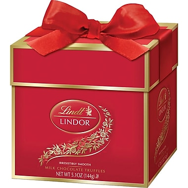 Lindt LINDOR Chocolate Truffles Token Gift Box, Milk Chocolate, 12 Truffles/Box