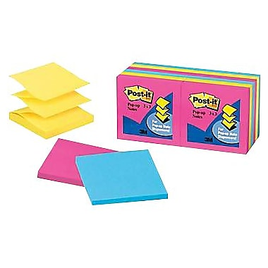 Post-it® 3in. x 3in. Neon Pop-Up Notes, 12 Pads/Pack