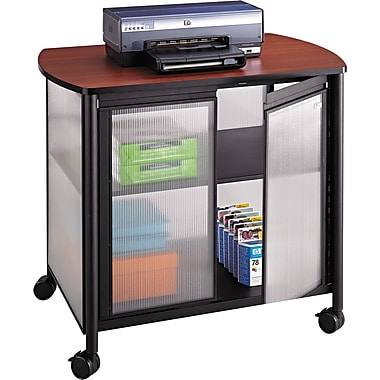 Safco ® Impromptu 30 3/4in.H x 34 3/4in.W x 25 1/2in.D Deluxe Machine Stand With Doors, Black/Cherry