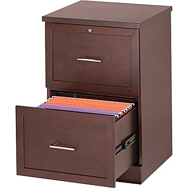 Staples® Vertical Wood File Cabinet, 2-Drawer, Light Mahogany