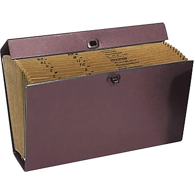 Staples® File Express, 19 Pockets with Handle, Burgundy