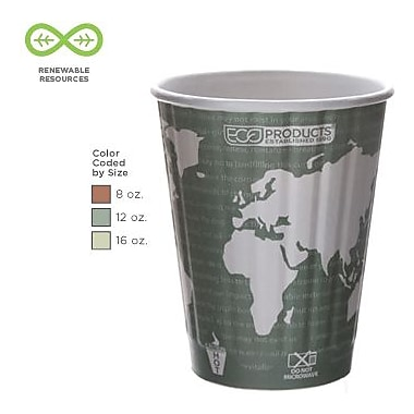 Eco-Products® World Art™ Insulated Compostable Paperboard/PLA Plastic Hot Cups