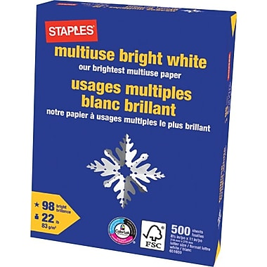 Staples® - Papier multi-usages blanc brillant certifié FSC, 22 lb, 8,5 po x 11
