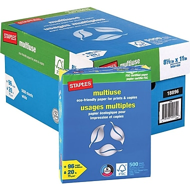 Staples® FSC-Certified Eco-Responsible Multiuse Paper, 20 lb., 8-1/2