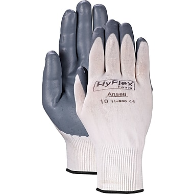 Ansell® HyFlex® Coated Gloves, Foam Nitrile, Knit-Wrist Cuff, Small Size, 12 Pairs
