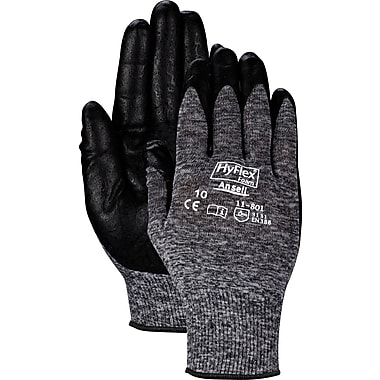 Ansell® HyFlex® Coated Gloves, Foam Nitrile, Knit-Wrist Cuff, Large Size, Grey, 12 Pairs