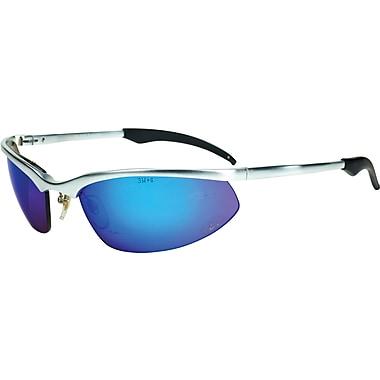 AOSafety® ANSI Z87 Safety Glasses, Polycarbonate, Blue Mirror, Silver