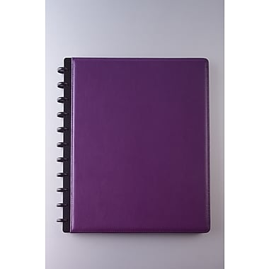 Staples® Arc Customizable Leather Notebook System, Purple, 9-1/2