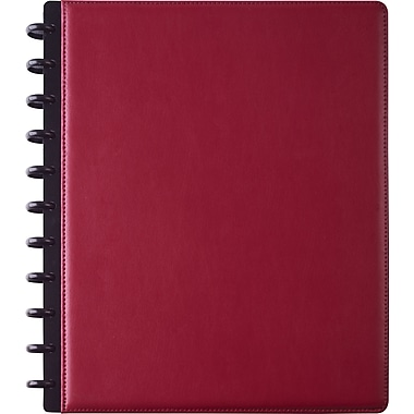 Staples® Arc Customizable Leather Notebook System, Burgundy, 9-1/2