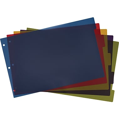 Cardinal® 11in. x 17in. Tabloid Poly Index Dividers, 5 Tab