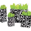 Shamrock Printed Paper Shopping Bag, 5 1/2in. x 3 1/4in. x 8 3/8in., Bold Scroll