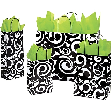 Shamrock Printed Paper Shopping Bag, 8in. x 4 3/4in. x 10 1/2in. , Bold Scroll