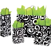 "Shamrock Paper 8.375""H x 5.5""W x 3.25""D Bold Scroll Toucan Shopper Bags, White, 100/Case"