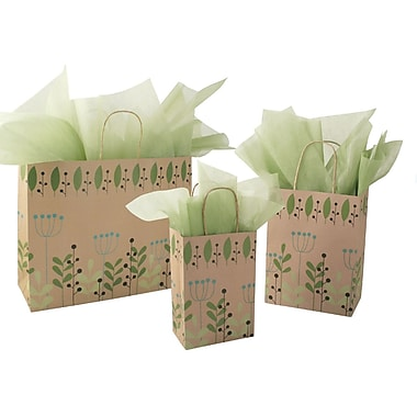 Shamrock Paper 13in.H x 16in.W x 6in.D Jaguar Shopper Bags, Leaves & Berries Kraft, 100/Case