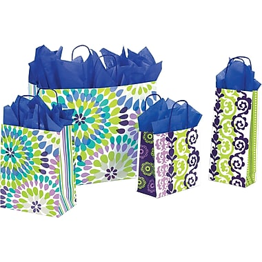 Shamrock Printed Paper Shopping Bag, 5 1/2in. x 3 1/4in. x 8 3/8in., Amalfi Stripe