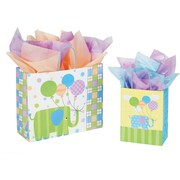 Shamrock Printed Paper Shopping Bag, 8 x 4 3/4 x 10 1/2, Baby Elephants