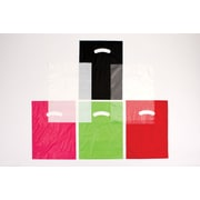 "Shamrock Polyethylene 18""H x 15""W x 4""D Low Density Super Gloss Shopping Bags, Black, 500/Case"