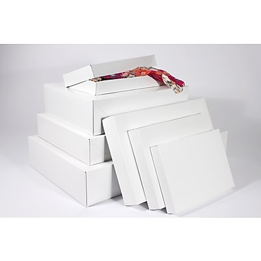 Boxit Two-Piece Apparel Box, White Frost (Gloss), 19in. x 12in. x 3in.