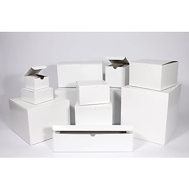 Boxit Tuckit One-Piece Folding Gift Box, White Gloss, 8in. x 8in. x 3.5in.
