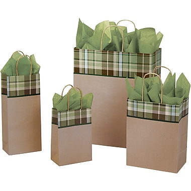 Shamrock Paper 15.75in.H x 13in.W x 6in.D Kensington Plaid Shopping Bags, Brown, 100/Case
