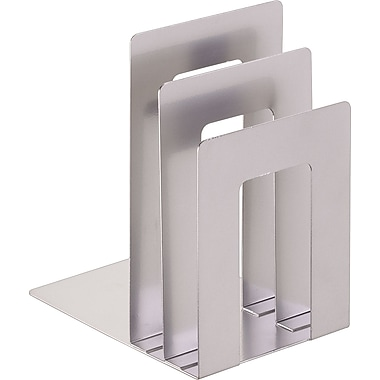 MMF SteelMaster® Soho Collection Square Bookend Sorter, Silver