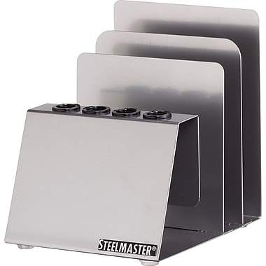 MMF SteelMaster Soho Collection Pen and Note Holder, Silver