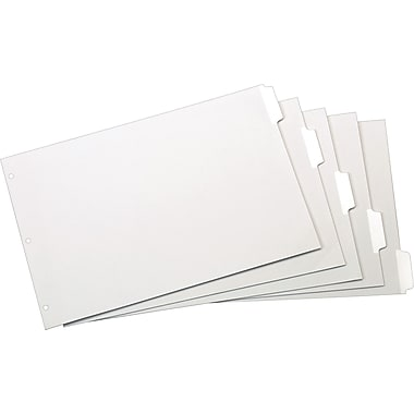 Cardinal® Erasable Dividers, White, 5-Tab