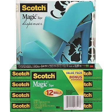 Scotch Sandal Shoe Dispenser Free with 12 Rolls of Magic Tape