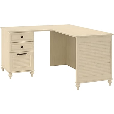 kathy ireland Volcano Dusk by Bush Furniture L-shaped Computer Desk with Return, Antique White