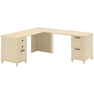 kathy ireland by Bush Volcano Dusk Double Pedestal L Desk, Driftwood Dreams