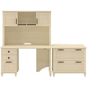 kathy ireland Volcano Dusk by Bush Furniture Small Office with Desk and Lateral File, Antique White
