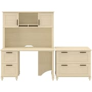 kathy ireland Volcano Dusk by Bush Furniture Small Office Suite with Desk and File Drawers, Antique White