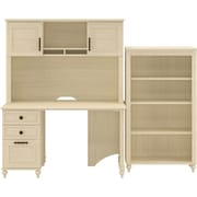 kathy ireland Volcano Dusk by Bush Furniture Small Office with Desk, Hutch, and Bookcase, Antique White