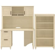 kathy ireland Volcano Dusk by Bush Furniture Desk with Hutch and Bookcase, Antique White