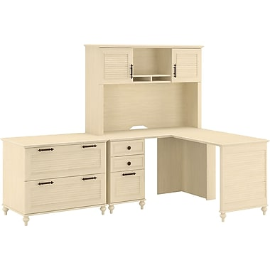 kathy ireland Volcano Dusk by Bush Furniture L-shaped Computer Desk, Hutch and Lateral File, Antique White