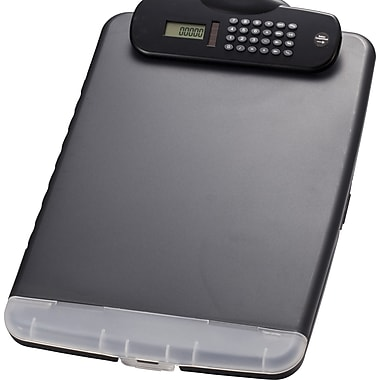 OIC® Slim Clipboard Storage Box with Calculator, Charcoal, 10in. x 14 1/2in. x 1 1/4in.